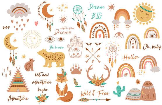 Tribal kids set elements. Boho teepee, rainbow, arrow, moon, sun, boho animals, dream catcher deer horns baby collection