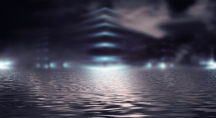 Fotomurales - Dark neon background with rays and lines. Night view, reflection in the water of neon light. Abstract dark scene, vertical lines. 3d illustration