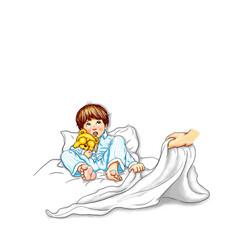 Junge Kind Schlafanzug blau gestreift liegen barfuß Bett nachts Teddy im Arm halten Augen ängstlich verstört verunsichert Blick nach oben Angst Hand zieht Bettdecke weg Bedrohung Missbrauch