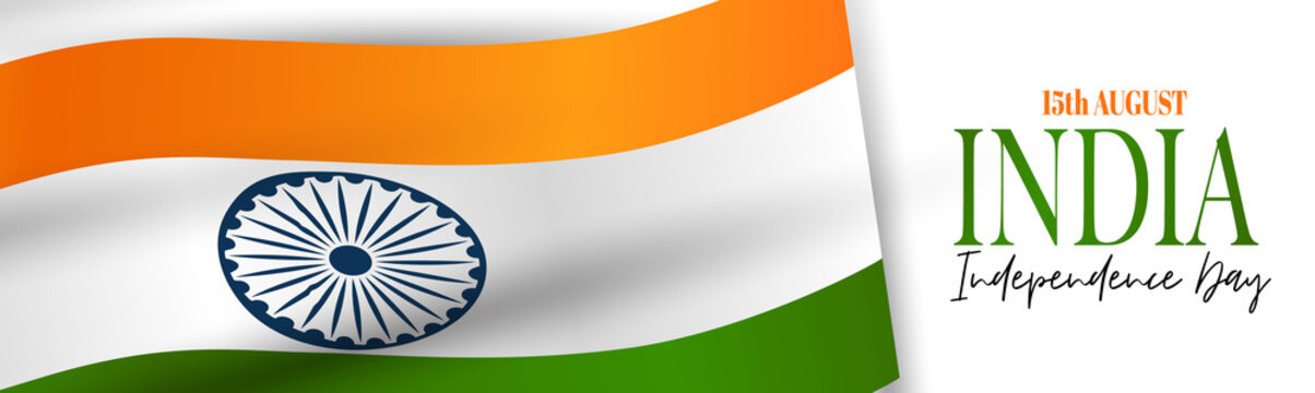 India Independence Day. Indian national holiday header or long banner with a waving orange, white, and green flag. Vector illustration.