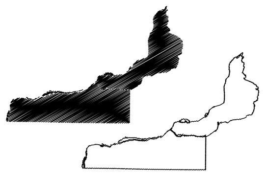 Rock Island County, Illinois (U.S. county, United States of America, USA, U.S., US) map vector illustration, scribble sketch Rock Island map
