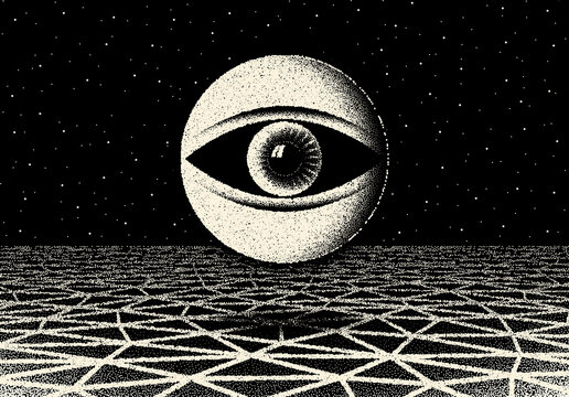 Retro dotwork landscape with 60s or 80s styled alien robotic space eye over the desert planet on the background with old sci-fi style