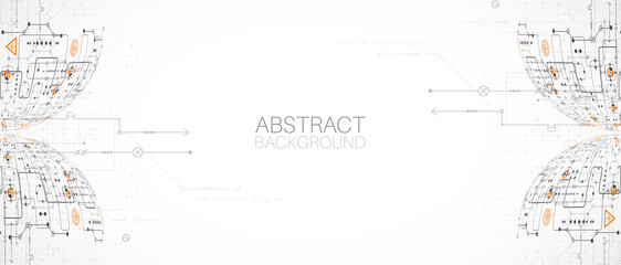 Abstract technology half - sphere background. Global network concept. Vector illustration.