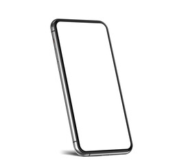 Smartphone frameless blank screen mockup template on edge with shadow isolated on white background