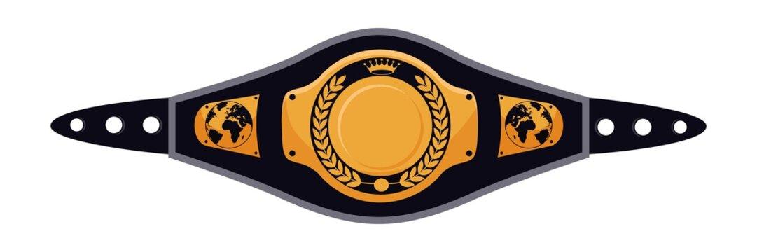 Mixed martial arts champion belt on white backdrop