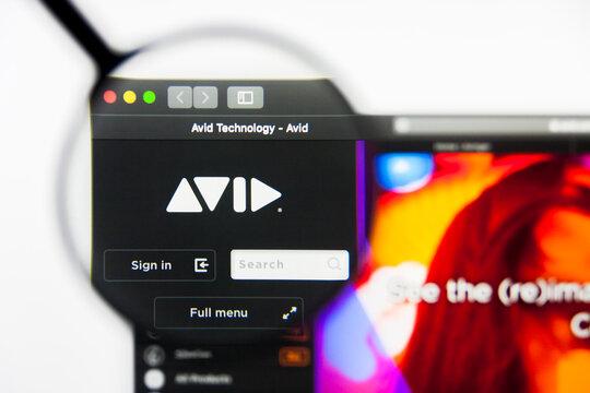 Richmond, Virginia, USA - 9 May 2019: Illustrative Editorial of Avid Technology Inc website homepage. Avid Technology Inc logo visible on display screen.