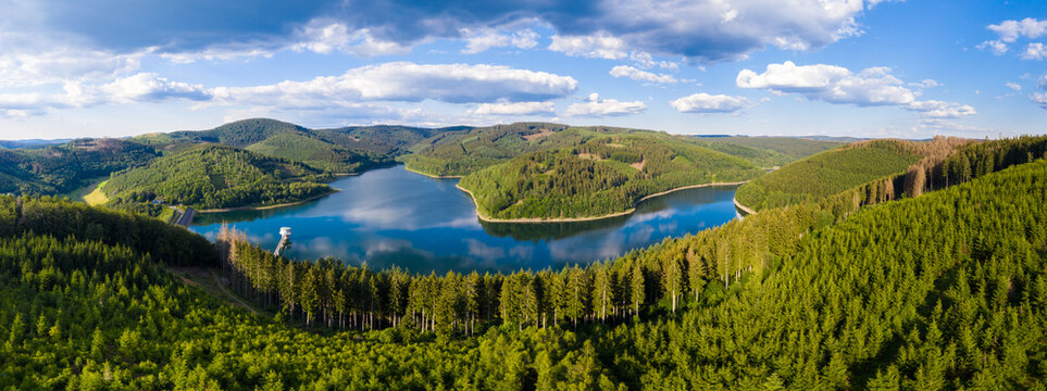 rothaargebirge with the obernau lake landscape in the siegerland germany as hd panorama