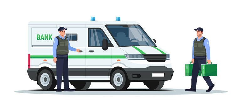 Bank truck with guards semi flat RGB color vector illustration. Armored vehicle money transportation. Auto with authority and carriers. Police man isolated cartoon character on white background