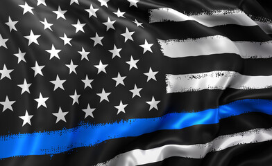 Black lives matter flag, with a blue line, blowing in the wind. Full page striped black and white USA flying flag.