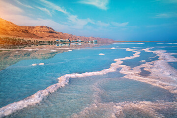 Fototapete - Dead sea salty shore. Beautiful seascape. One and only sea. Tropical landscape. Summertime. Unique amazing nature of Israel