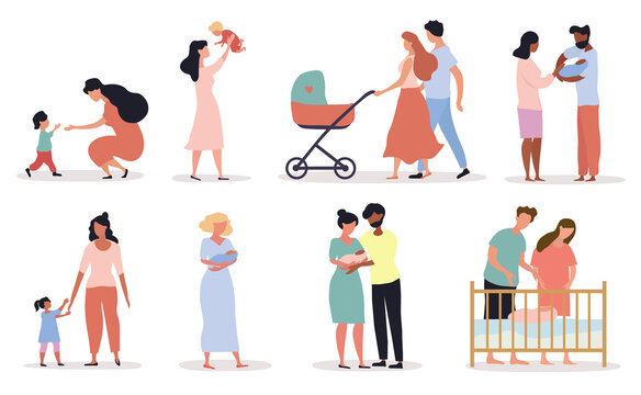 Eight different scenes depicting Motherhood showing parents with babies and mothers with kids, colored vector illustration