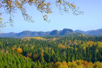 Autumn colors landscape in the saxon switzerland region in germany