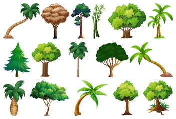 Printed roller blinds Kids Set of variety plants and trees