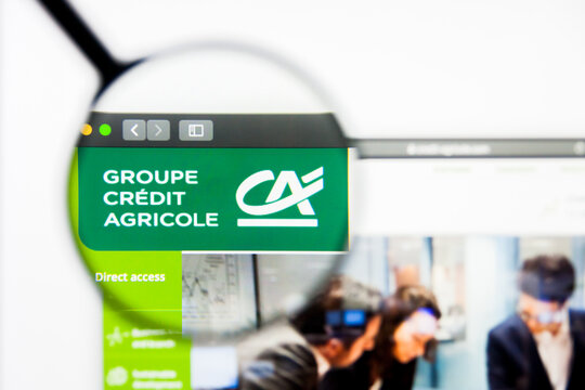 Los Angeles, California, USA - 5 April 2019: Illustrative Editorial of Credit Agricole website homepage. Credit Agricole logo visible on display screen.