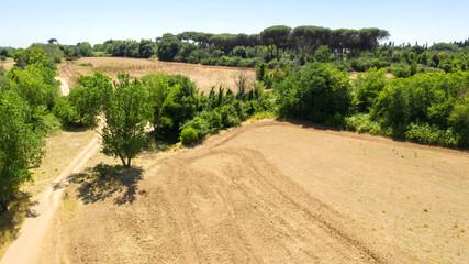 Aerial view of Caffarella park in Rome, Italy.