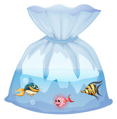 Cute fishes in plastic bag cartoon isolated