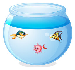 Photo sur Plexiglas Jeunes enfants Cute fishes in the tank cartoon isolated