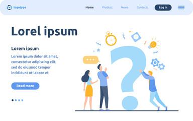 People searching solutions and asking for help. Men and women discussing huge question mark. Vector illustration for communication, assistance, consulting concept