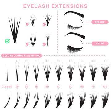 Eyelash extension infographics. Volume boost guide, fake lashes application, eyelashes cluster set. Can be used for beauty care or salon concept