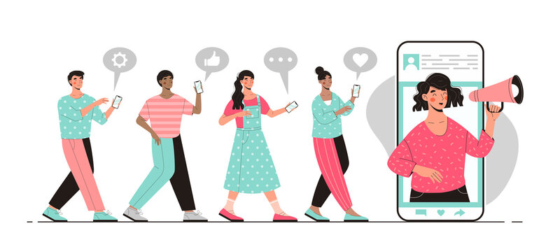 Blogger promotion concept with an announcement being made on a mobile phone over a megaphone and queue of people with chat icons, colored vector illustration
