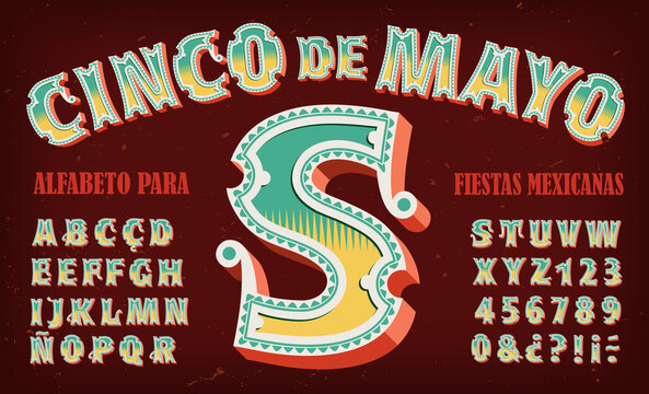 An Alphabet with Intricate Decorations and 3d Effects, Ideal for Mexican or Latin American Themed Graphics