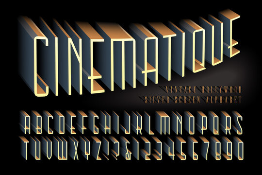 A 3d Effect Alphabet in a Vintage Hollywood Cinema Style