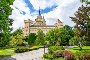 Bojnice castle park with neogothic castle in background (Bojnice, Slovakia)