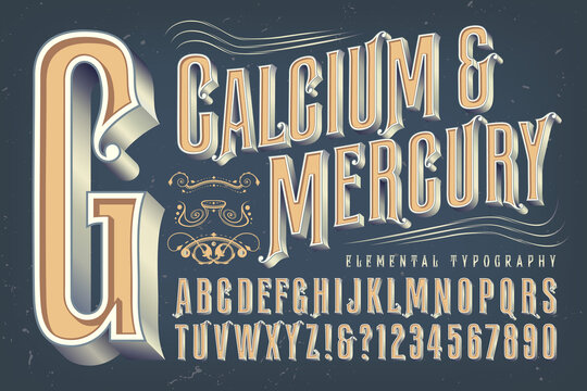 An Antique or Victorian Style Alphabet that Would Be Appropriate for Circus, Carnival, Alcohol Bottles, or Steampunk Themes