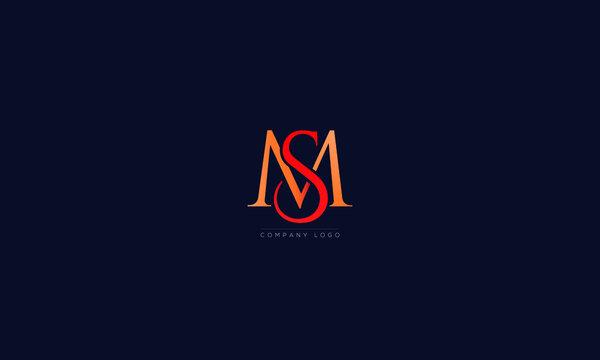 MS or SM letters Logo Alphabet  Design Vector Symbol