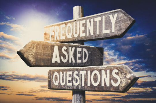 Frequently asked questions - wooden signpost, roadsign with three arrows