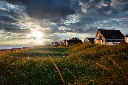 Beach Houses at sunset Cape Cod