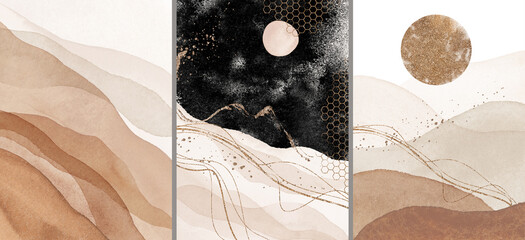 Abstract Arrangements. Landscapes, mountains, night. Posters. Blush, pink, ivory, beige, black watercolor Illustration and gold elements, on white background. Modern print set. Wall art. Business card