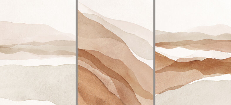 Abstract Arrangements. Landscapes, mountains. Posters. Terracotta, blush, pink, ivory, beige watercolor Illustration and gold elements, on white background. Modern print set. Wall art. Business card.