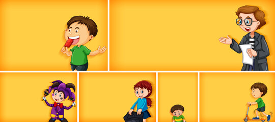 Foto auf Acrylglas Kinder Set of different kid characters on yellow color background