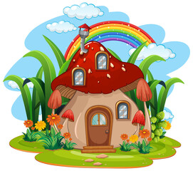Isolated fantasy mushroom house