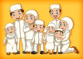 Foto auf Acrylglas Kinder Muslim family member on cartoon character colour gradient background