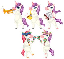 Printed roller blinds Kids Set of musician unicorn