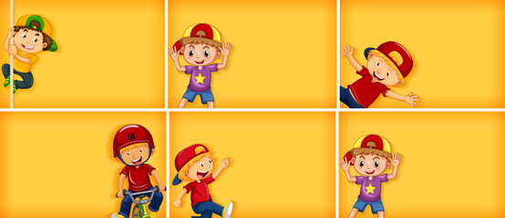 Tuinposter Kids Set of different kid characters on yellow color background