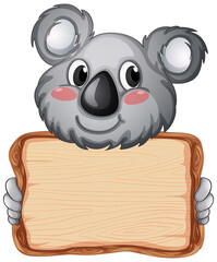Board template with cute koala on white background