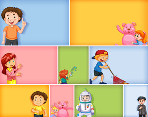 Tuinposter Kids Set of different kid characters on different color background