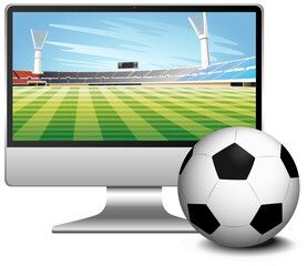 Football match score news on computer screen with football isolated
