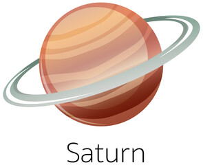 Tuinposter Kids Isolated saturn on white background