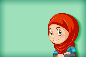 Foto auf Acrylglas Kinder Happy muslim girl cartoon character