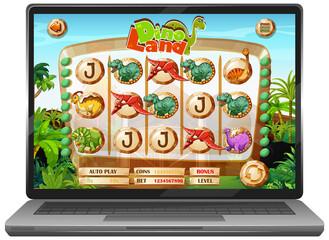 Foto auf Acrylglas Kinder Dinosaur game on laptop screen
