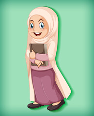 Tuinposter Kids Female muslim cartoon on character colour gradient background