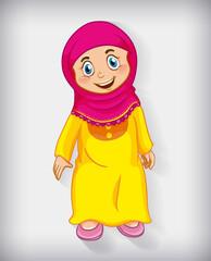 Happy muslim girl cartoon character