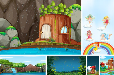 Six different scene of fantasy world with fairies in fairy tale and timber house