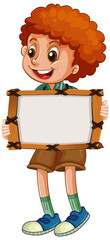 Tuinposter Kids Blank sign template with cute boy on white background