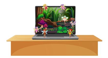 Laptop with fairy tale scene on desktop screen