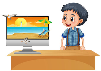 Happy boy next to computer with beach on screen